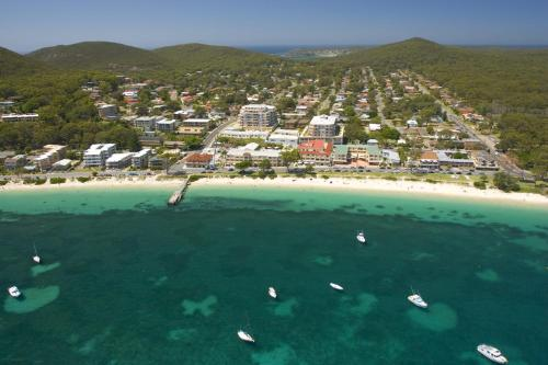 A bird's-eye view of The Shoal One Block From the Beach