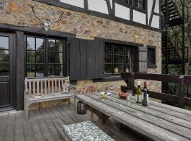 Stunning Ardennes castle villa with fireplace situated in a wooded area, pet-friendly hotel in Spa