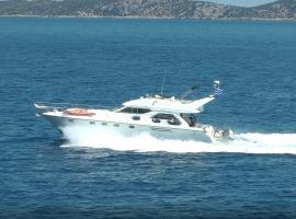 Motor boat in Alimos marina, boat in Athens