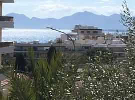 charming sea view 3 rooms pool residence Mas de Tanit CORINTHE 1e, pet-friendly hotel in Antibes