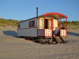 Pipowagen op het strand, resort in s-Gravenzande