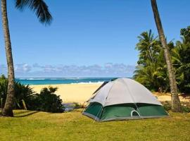 Private Campsite permit with Camping Gear Set, Car Rental Available, glamping site in Kahuku