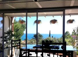 Studio in Collioure with wonderful sea view enclosed garden and WiFi 400 m from the beach, apartment in Collioure
