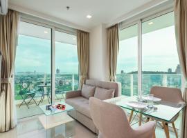 Sea View - High Floor Balcony - Free WIFI - Washing Machine - Full Kitchen, apartment in Pattaya South
