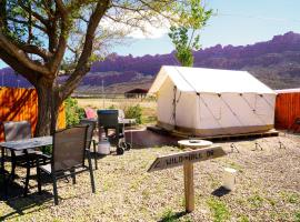 FunStays Glamping Setup Tent in RV Park #6 OK-T6, glamping site in Moab