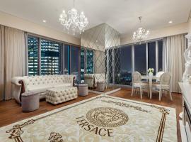Luxury Апартаменты с камином в Москва-сити в стиле неоклассика либо модерн Выбери свой стиль, отель в Москве, рядом находится Деловой центр «Москва-Сити»