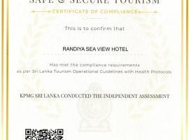 Randiya Sea View Hotel - Level 1 Certified, hotel in Mirissa
