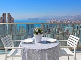 Apartamento de Lujo con terraza privada y vistas al mar en Torre Lúgano, hotel con jacuzzi en Benidorm
