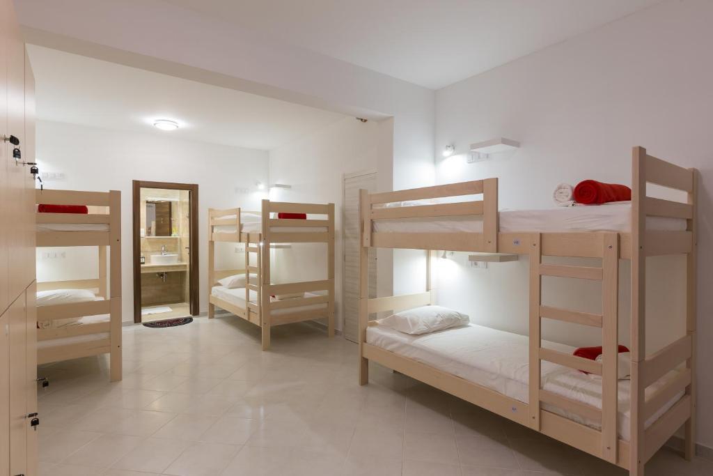 Letto o letti a castello in una camera di Hostel Free Bird