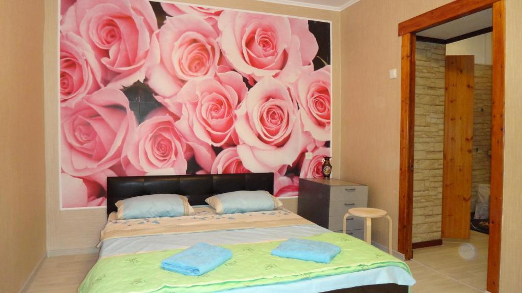 Кровать или кровати в номере Двухкомнатная квартира
