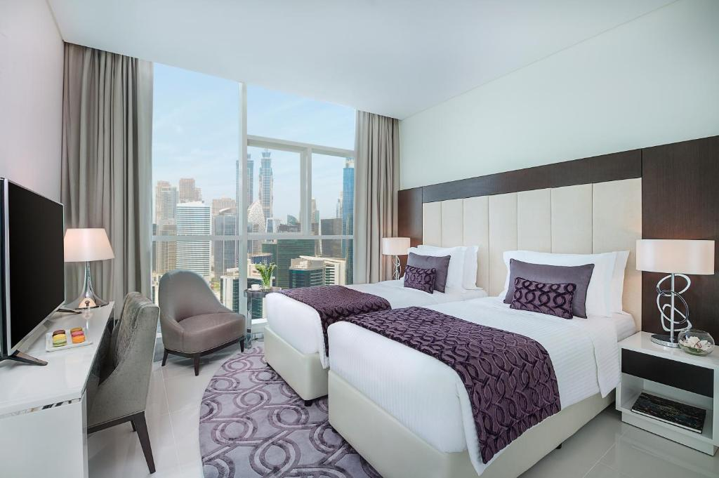 A room at the DAMAC Maison Distinction, one of the hotels in downtown Dubai.