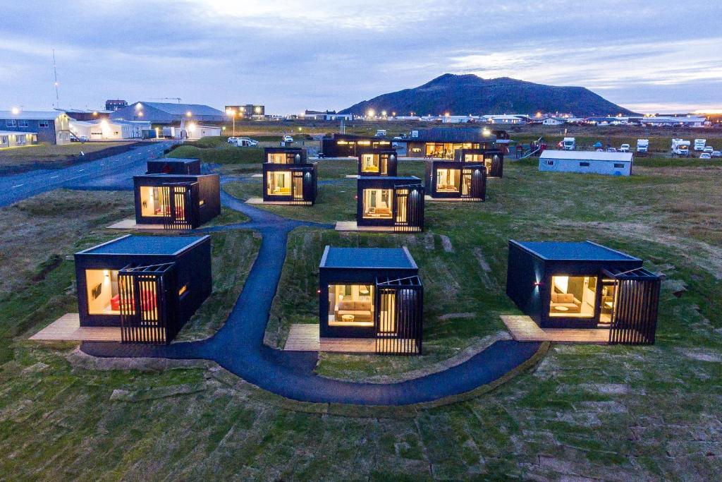 A bird's-eye view of Harbour View Cottages Grindavik