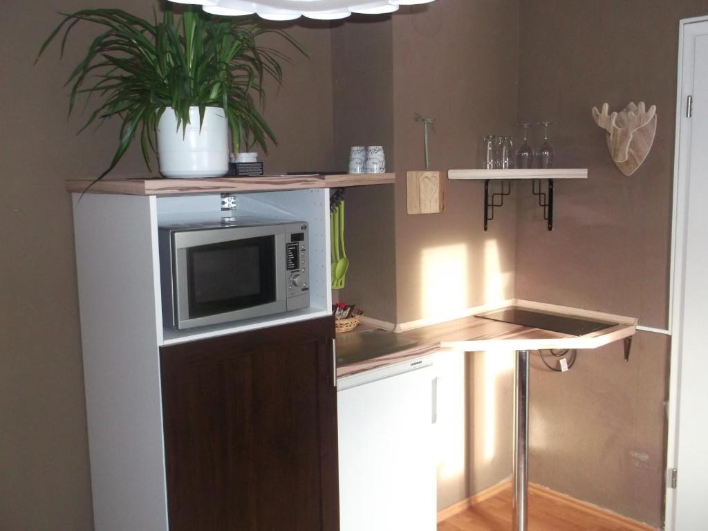 Küche/Küchenzeile in der Unterkunft HirschHöhle