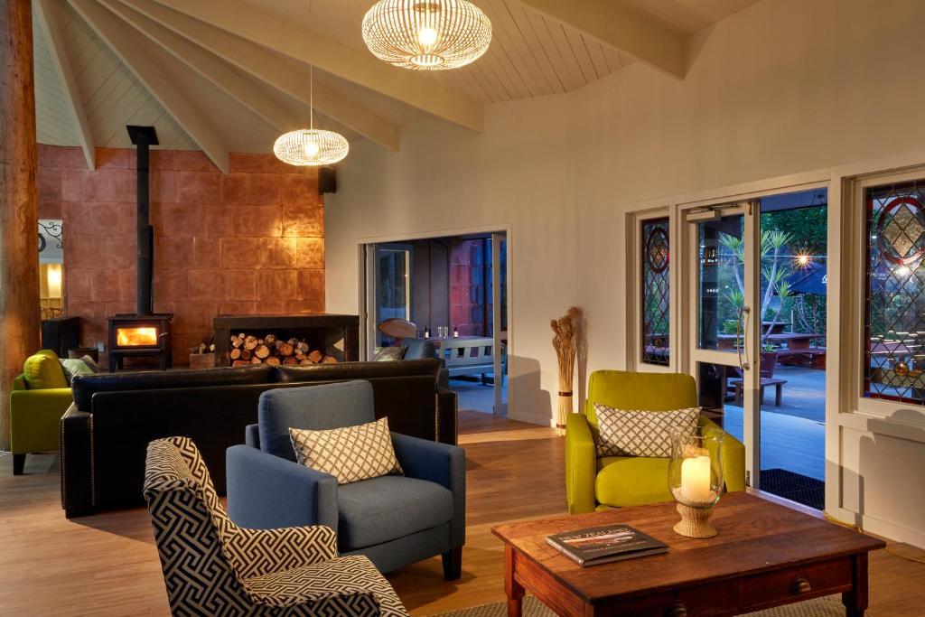 A seating area at Awaroa Lodge