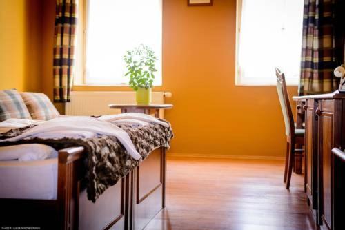 Postel nebo postele na pokoji v ubytování Penzion Pod Kašnou