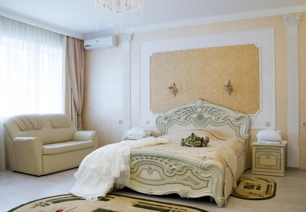 Кровать или кровати в номере Отель Аквамарин
