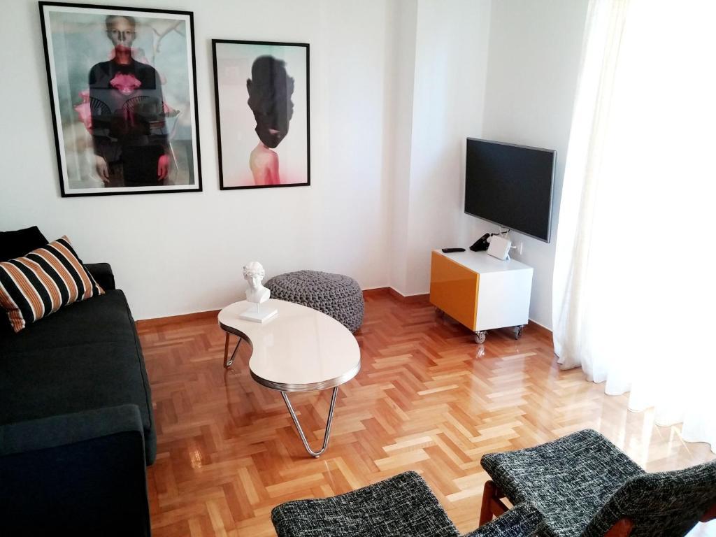 A seating area at New stylish Kolonaki flat