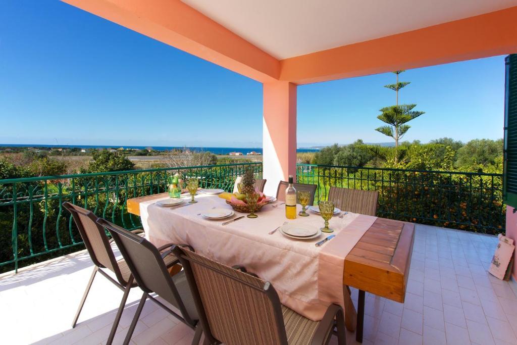 A balcony or terrace at Ariadni Sea View Apartment