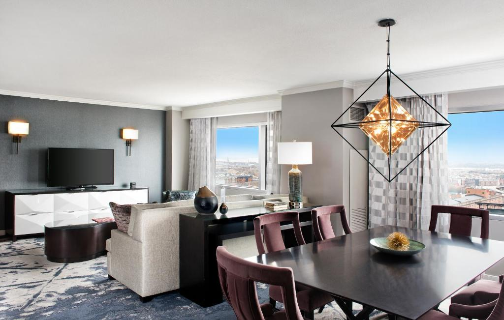 A suite at the Hilton Baltimore Inner Harbor.