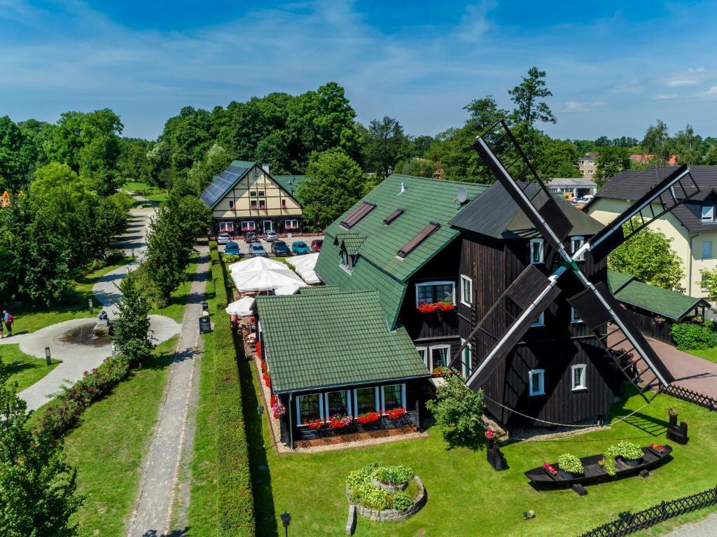 Blick auf Pension Kräutermühlenhof Burg aus der Vogelperspektive