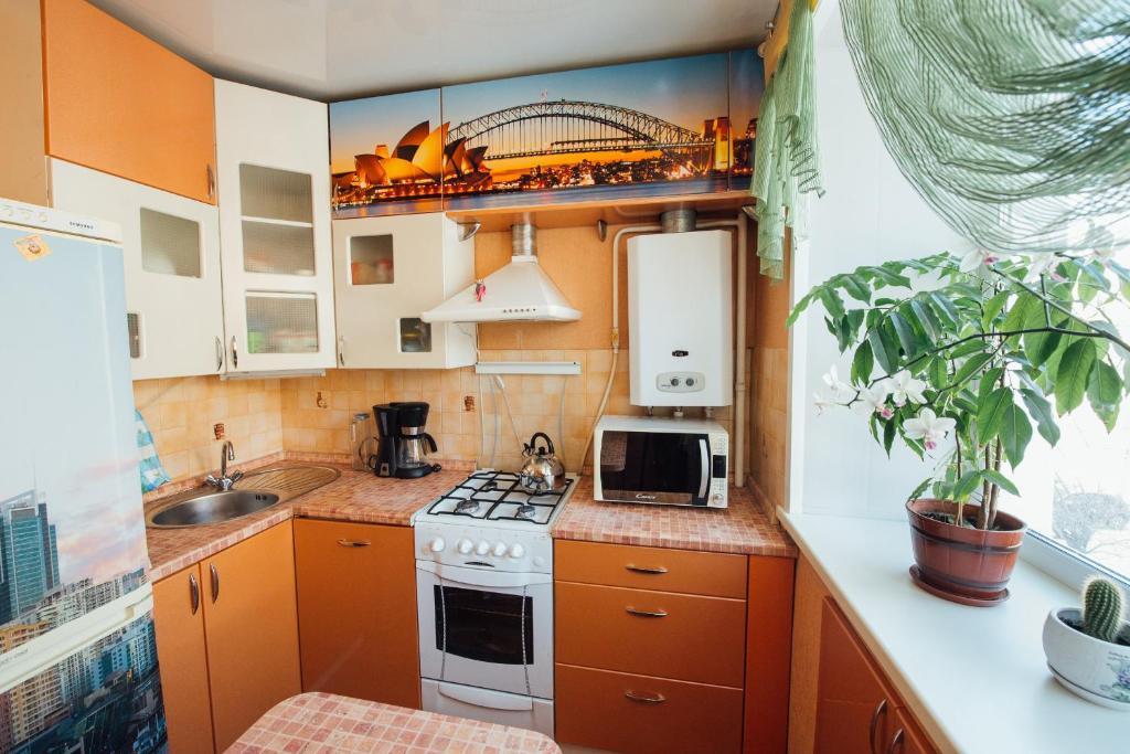 Кухня или мини-кухня в 2К Апартаменты на улице Громобоя