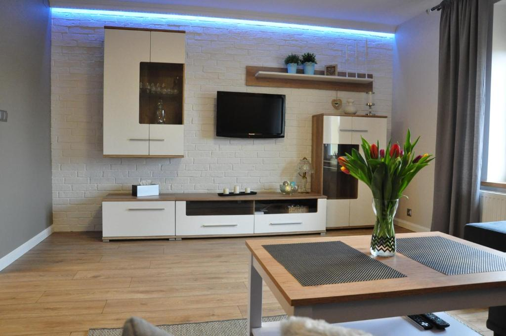 A television and/or entertainment center at Apartament w lesie