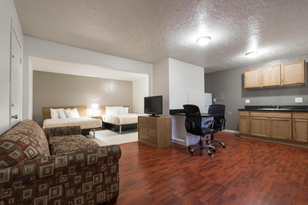 A room at the Little Suites Provo Extended Stay.