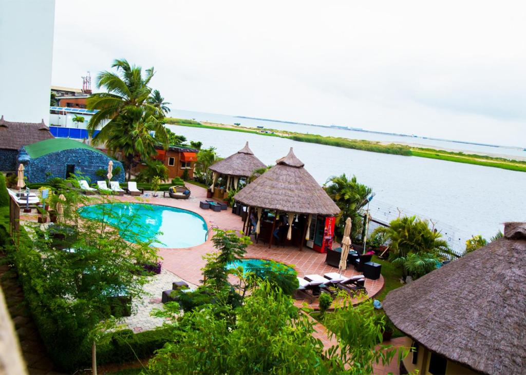 A view of the pool at Hotel Bon Voyage or nearby