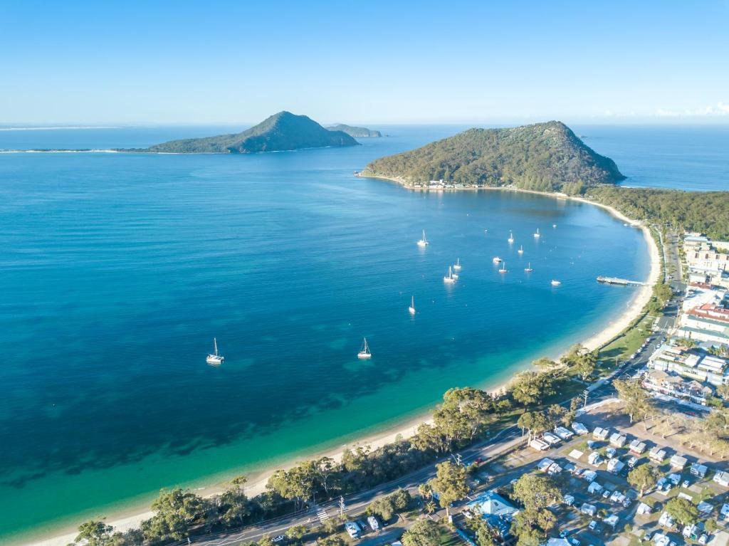A bird's-eye view of Shoal Bay Holiday Park