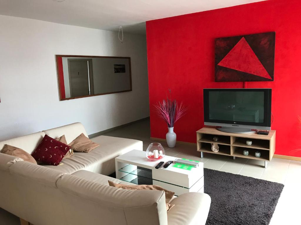 A television and/or entertainment center at Schöntal Apartment