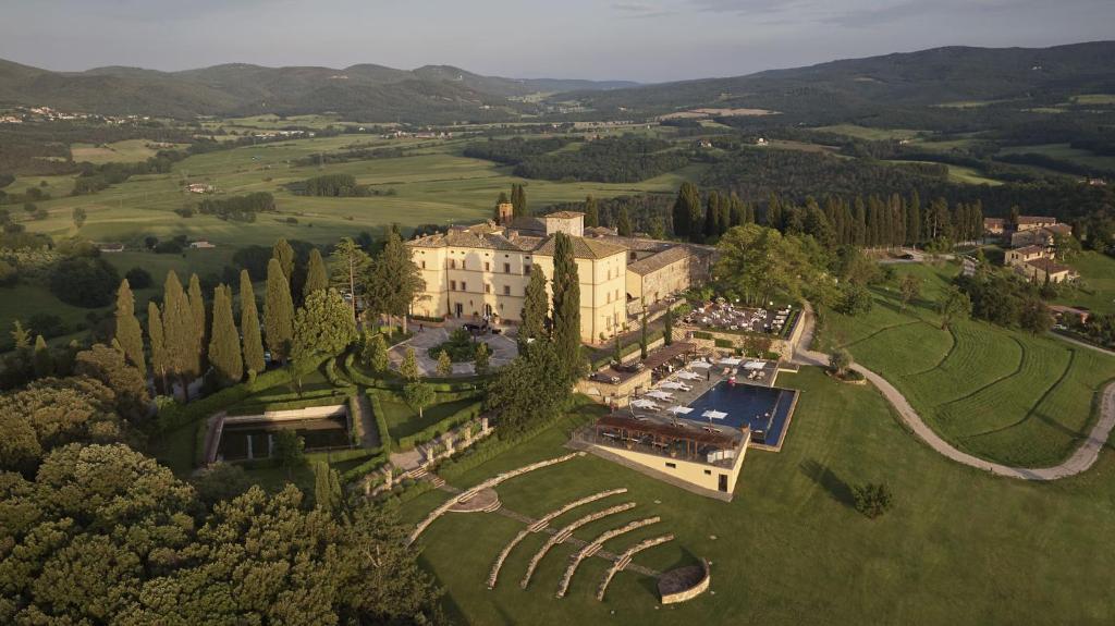 A bird's-eye view of Castello di Casole, A Belmond Hotel, Tuscany