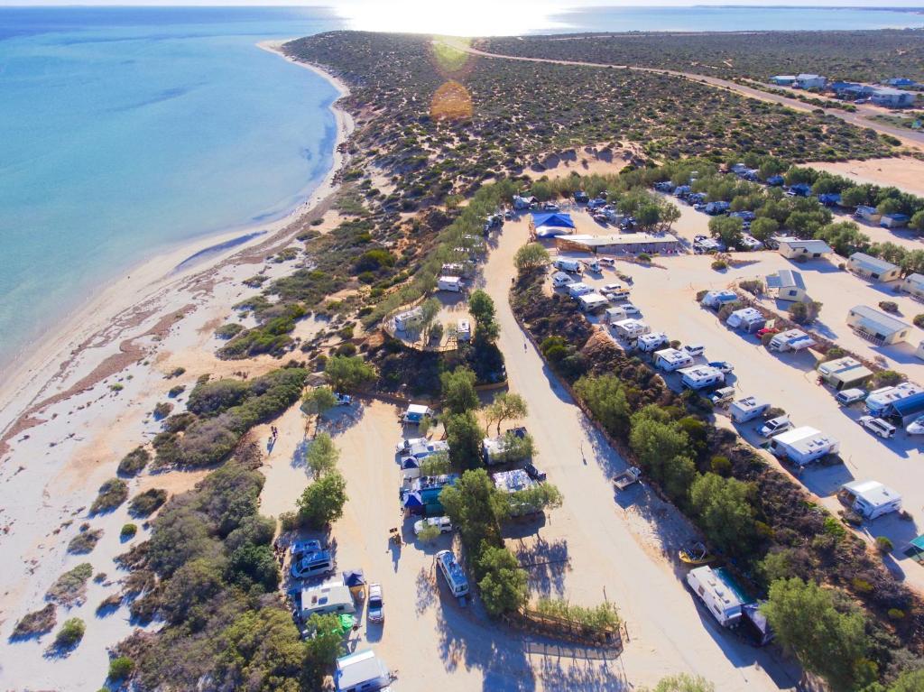 A bird's-eye view of Denham Seaside Caravan Park