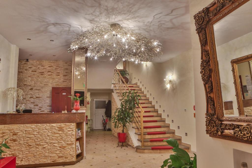 The lobby or reception area at Hotel Krone