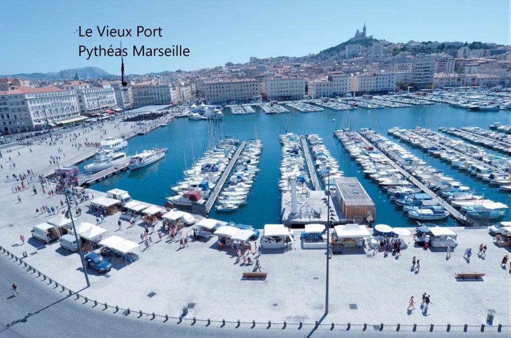 A bird's-eye view of Le Pytheas Vieux Port Marseille