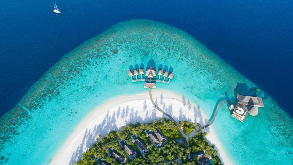 A bird's-eye view of Anantara Kihavah Maldives Villas