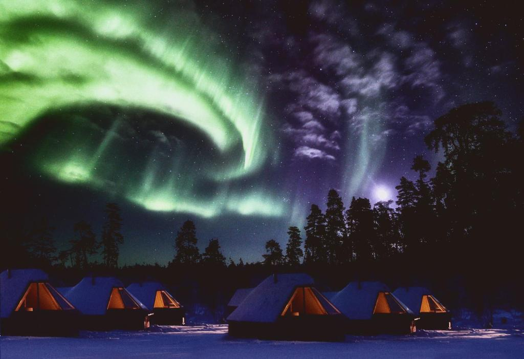 Northern Lights Village Levi during the winter