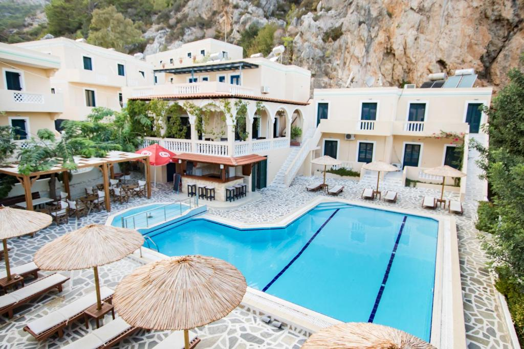 A view of the pool at Kyra Panagia ApartHotel or nearby