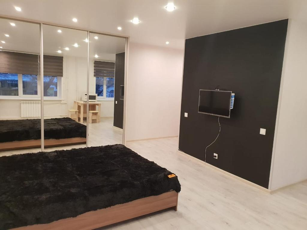A television and/or entertainment centre at Apartment in the Quiet Center of Novosibirsk on Red Avenue