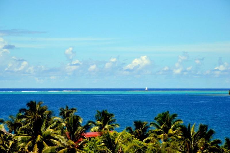 Uma vista do mar tirada da hospedagem domiciliar