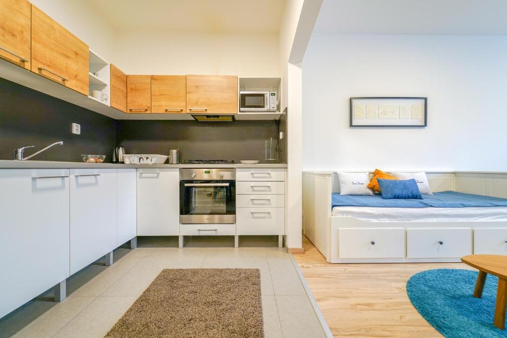 A kitchen or kitchenette at Vesna Convenient Apartment