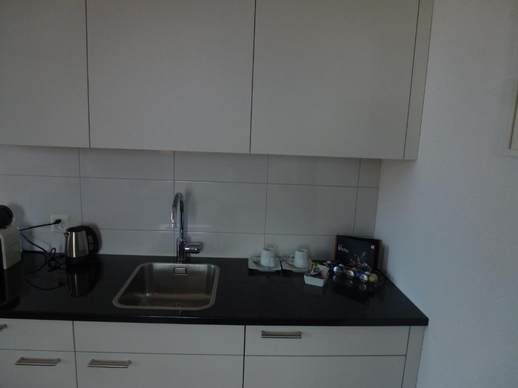 A kitchen or kitchenette at Hotel Enjoy