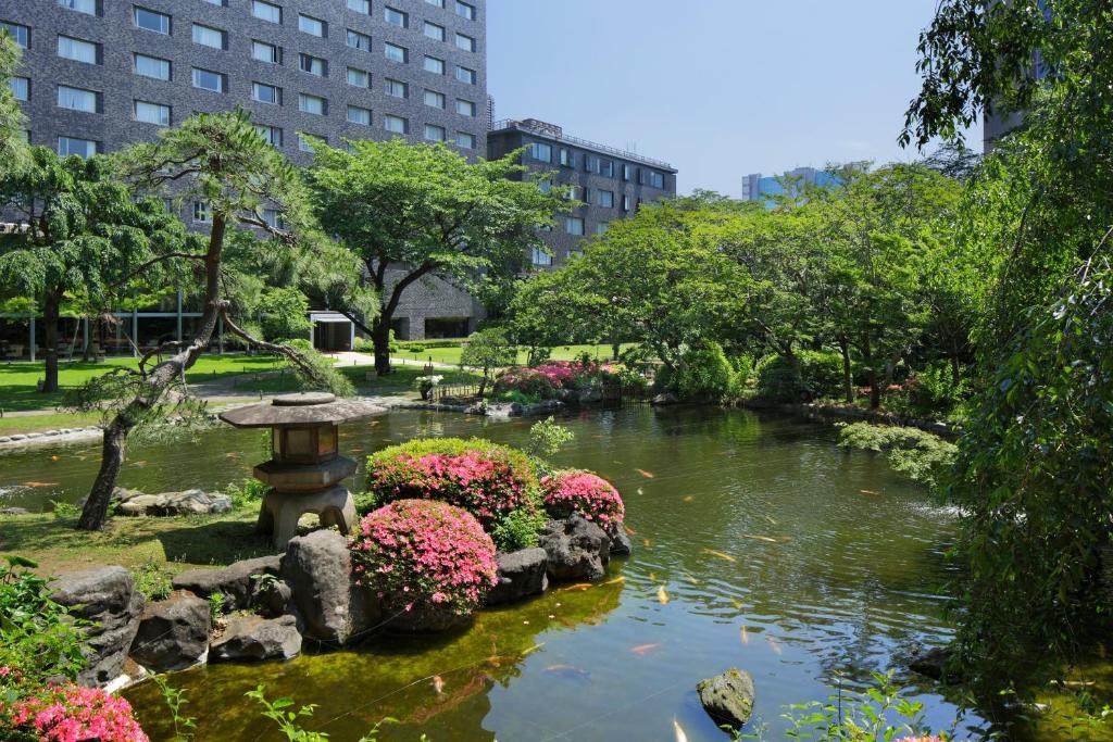 A garden outside Grand Prince Hotel Takanawa
