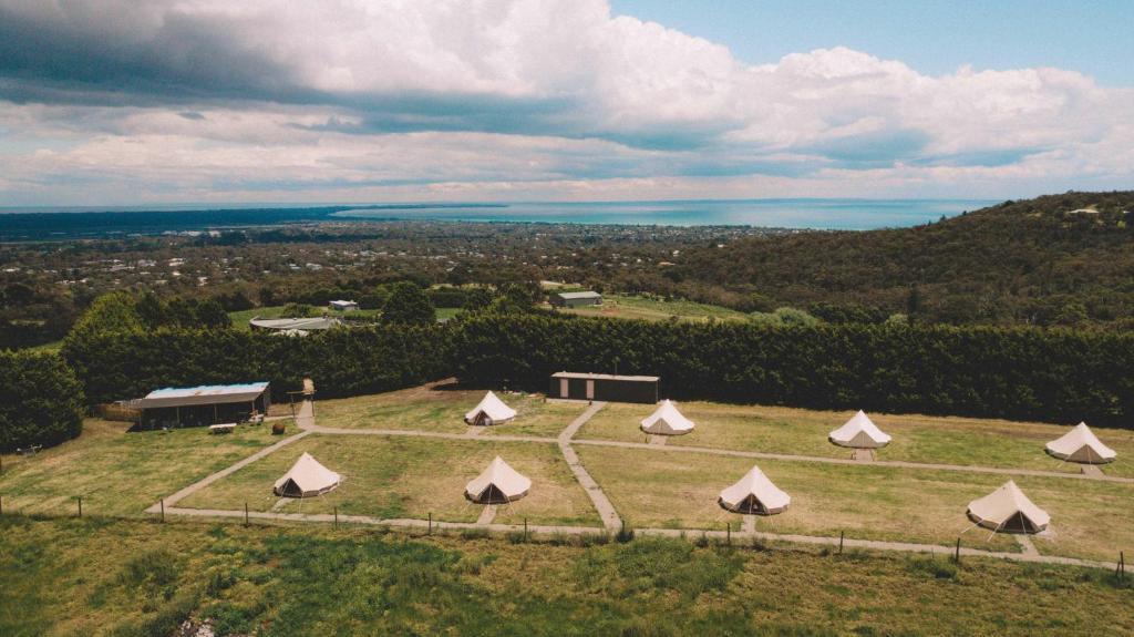 A bird's-eye view of Mornington Peninsula Glamping