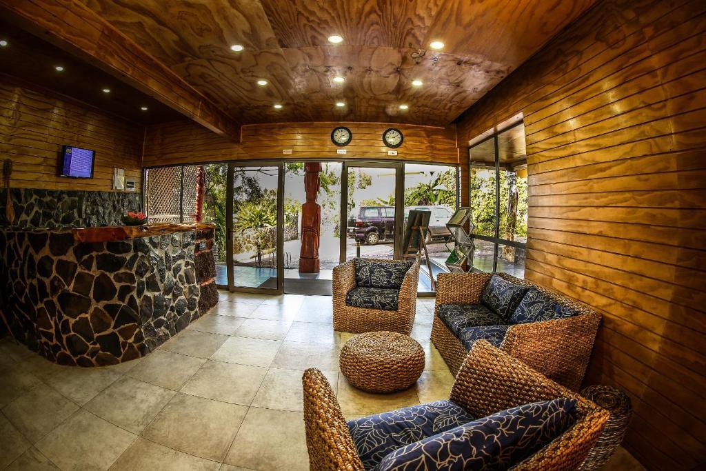 El vestíbulo o zona de recepción de Easter Island Ecolodge