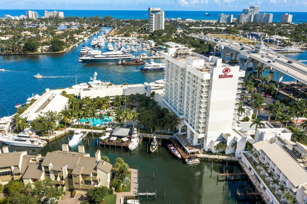 A bird's-eye view of Hilton Fort Lauderdale Marina