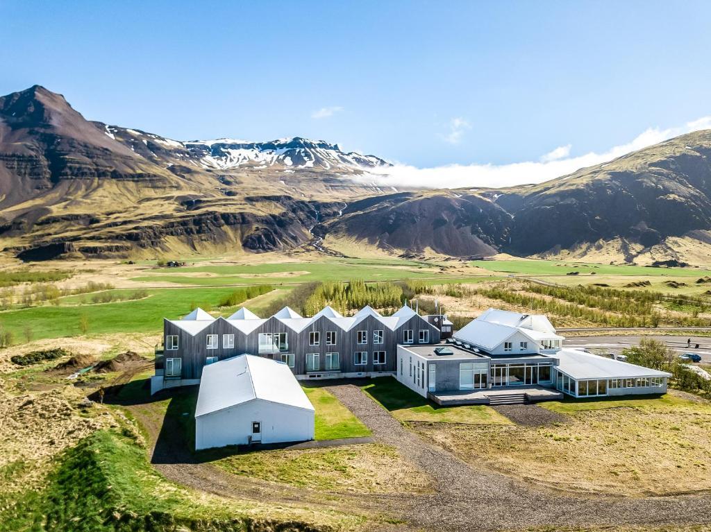 Vue panoramique sur l'établissement Fosshótel Vatnajökull