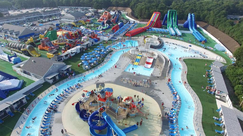 A bird's-eye view of Cape Cod Family Resort and Inflatable Park