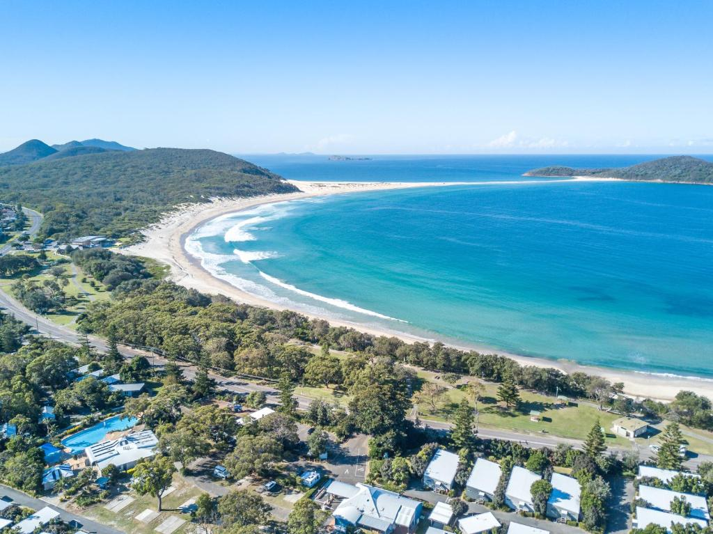 A bird's-eye view of Fingal Bay Holiday Park