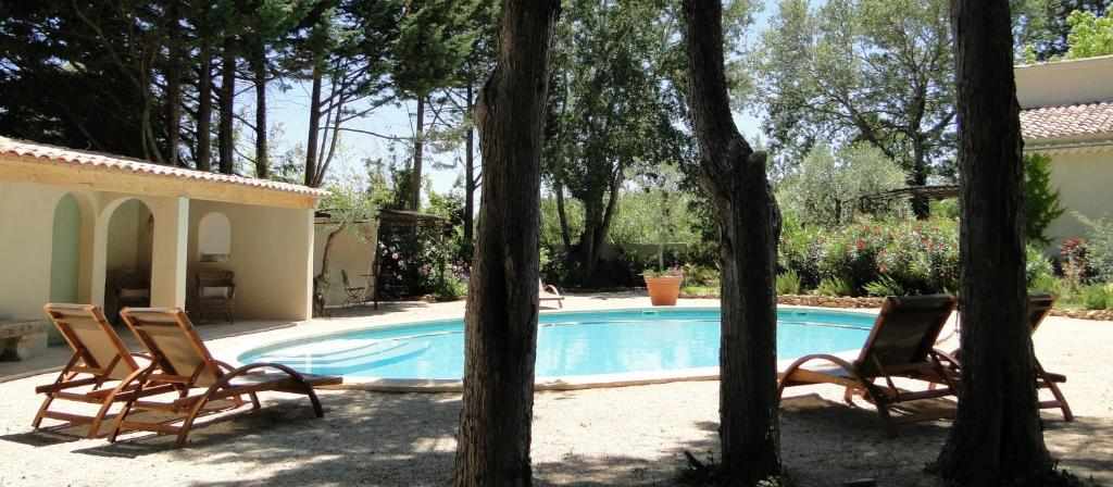 The swimming pool at or close to La Caroline