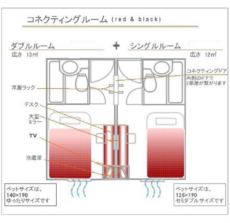 The floor plan of Hotel Mid In Meguro Ekimae